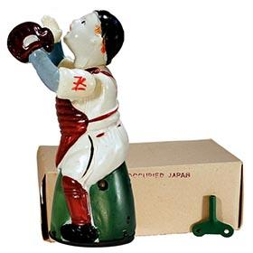 1946 Occupied Japan New York Yankees Mechanical Baseball Catcher in Original Box