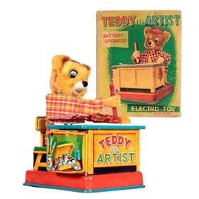"1959 Yonezawa, Battery Operated ""Teddy the Artist"" in Original Box"